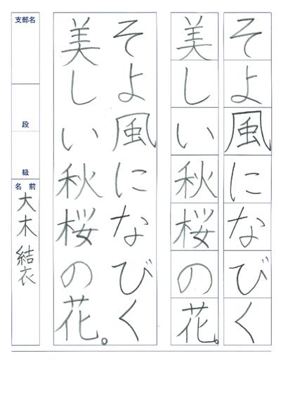 大木結衣2019全国書道コンクール作品画像