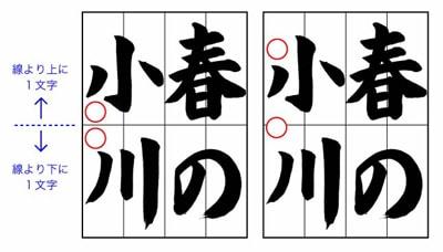 土屋彩明見附市書道教室子どもに教えるコツ~半紙4字作品の名前の書き方1